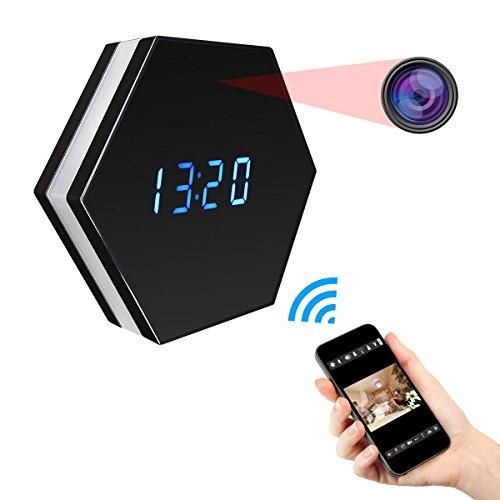 SIKVIO WIFI Hidden Camera Alarm Clock Camera HD 1080P Spy Camera Security Camera Wireless Nanny surveillance Camera with Motion Detection Night Vision ()