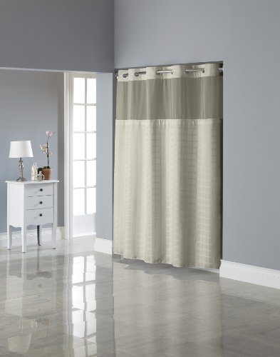 Hookless RBH27MY840 Square Tile Jacquard Shower Curtain with Snap-In Fabric Liner -  Champagne (Window Shower Liner compare prices)
