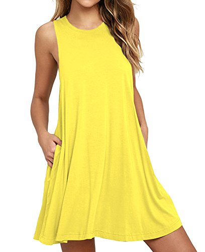 HiMONE Women Summer Casual T Shirt Dresses Beach Cover up Plain Pleated Tank Dress Yellow Small ()