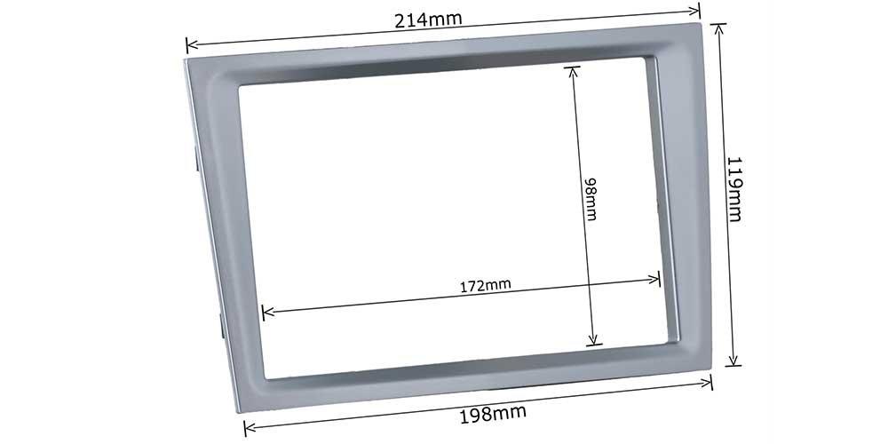 Doppel 2 DIN Radioblende matt chrome // silber + Einbaurahmen Einbauset passend f/ür OPEL Astra H Corsa D