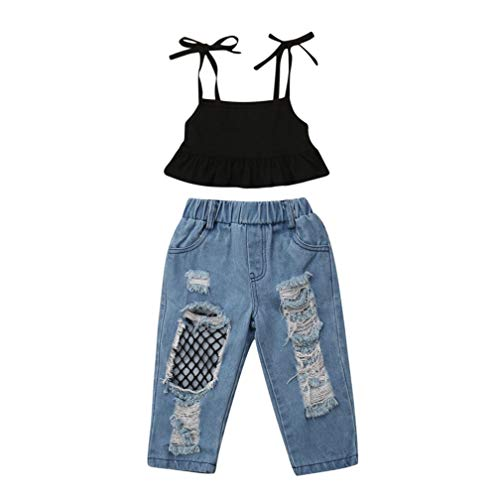Toddler Baby Girls Clothes 2Pcs Off Shoulder Strap Camisole Top Ripped Fishnet Jeans Denim Pants Outfits Sets (4-5Y, Black)