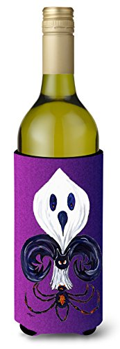 Caroline's Treasures 8608LITERK Fleur de lis Ghost Bat Spider Halloween Wine Bottle Beverage Insulator Beverage Insulator Hugger, Wine Bottle, multicolor]()