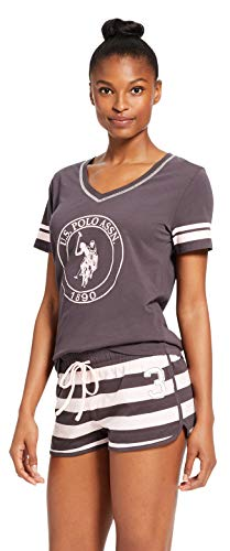 - U.S. Polo Assn. Womens Short Sleeve Shirt Elastic Waist Shorts Pajama Sleep Set Charcoal Medium