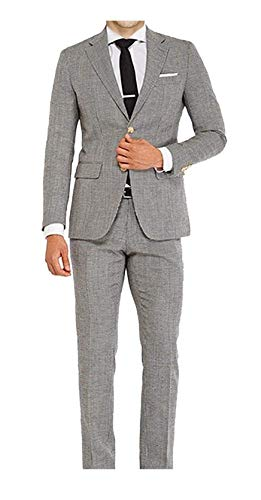 Classic Houndstooth Wool-Linen HIGH QAULITY 2 Piece Suit Grey ()