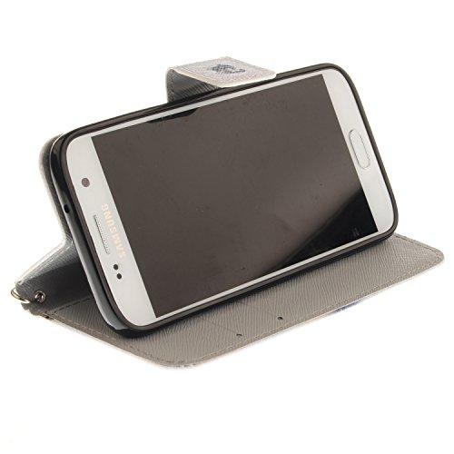 Para Samsung Galaxy S7 funda, (doguillo) caja del teléfono de la PU patrón en pintado ,Función de Soporte Billetera con Tapa para Tarjetas correa de mano soporte para teléfono lobo