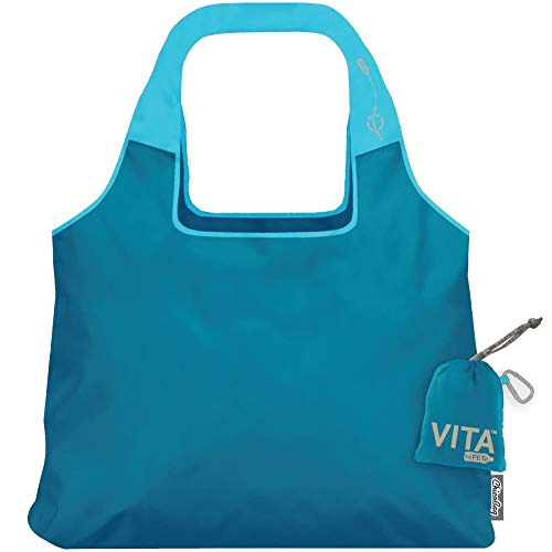ChicoBag VITA rePETe Shoulder Tote Reusable Bag with Pouch, Clarity Blue