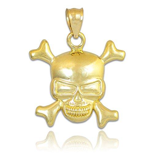 - 10k Yellow Gold Danger Skull and Crossbones Charm Pendant