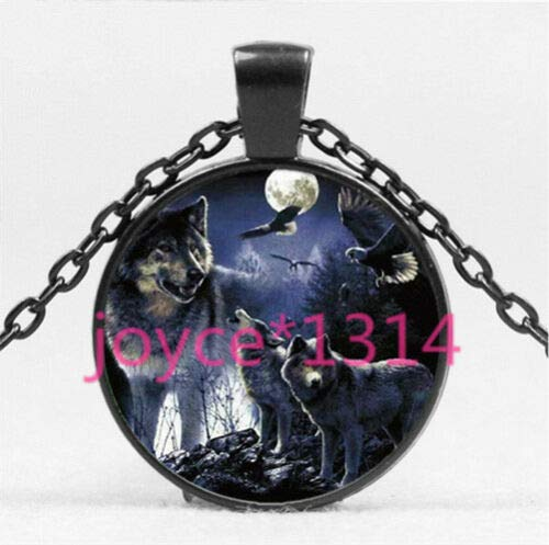 Eagle Glass Pendant - FidgetKute Vintage Wolf and Eagle Cabochon Black Glass Chain Pendant Necklace HS-4495