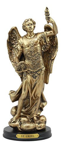 Angel Collectible Plate - Ebros Catholic Church Archangel Uriel Statue 8