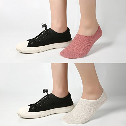Women's No Show Casual Socks 8 Pairs Low Cut Liner Cotton Ankle Socks Invisible Non Slip by Azue (Image #5)