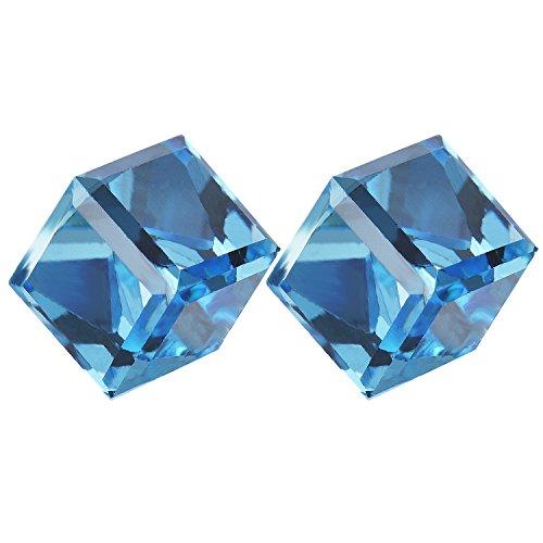 Cube Earrings Stud- Aqua Blue Crystals of SWAROVSKI Elements (Cubic Zirconia)