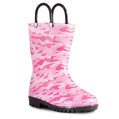 Totes Rubber Boots - ZOOGS Children's Rain Boots with Handles, Little Kids & Toddlers, Boys & Girls, Pink (Camo), US 7T