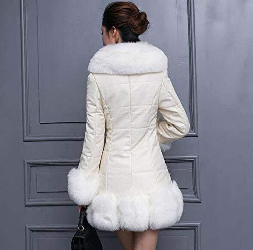 Pu Larga Huaishu Puntos Collar White De S Coreano Sintética Cuero zn8wUxwSdq