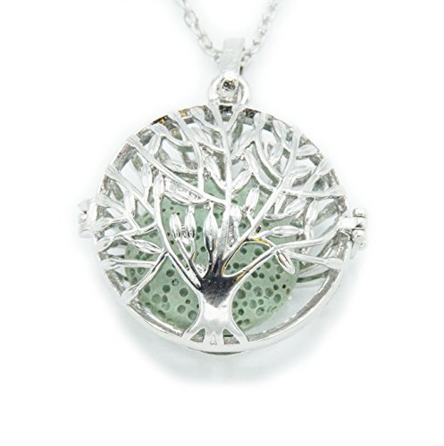 Sier Tree of Life Aromatherapy Perfume Essential Oil Diffuser Necklace Locket With Lava Stone (Green) (Oil Sier)