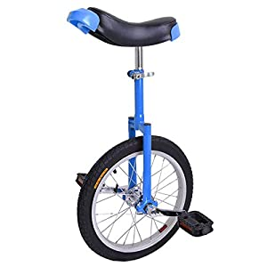 16 inch Wheel Aluminum Rim Steel Fork Frame Unicycle Blue w/ Comfortable Saddle Seat Rubber Mountain Tire for Balance Exercise Training Road Street Bike Cycling