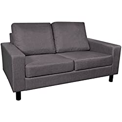 Anself Bonded Leather Recliner Chair, Love Seat, Dark Gray 2-Seater Sofa