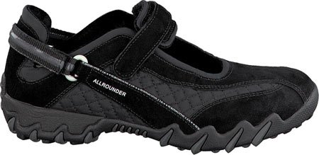 Allrounder Di Mephisto Womens Niro Active Mary Jane, In Pelle Scamosciata Nera / Mesh Wela, Us 8.