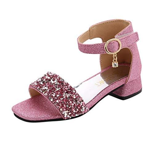 Tantisy ♣↭♣ Girls' Kids Open Toe Strappy Rhinestone Dress Sandal Low Heel Shoes - Wedding, Dress, Dance, Flower Girl Pink