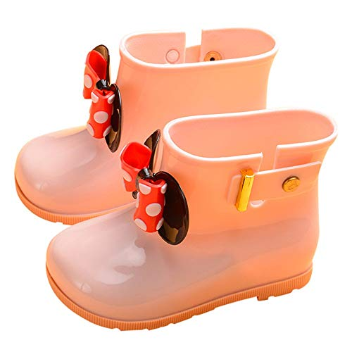 Toddler Baby Girls Boys Kids Rain Shoes for 1-7 Years Old,Child Bowknot Dot Rubber Waterproof Rain Boot Galoshes (3-4 Years Old, Pink)