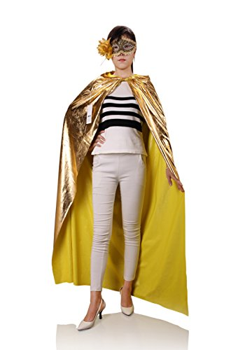 [ProEtrade Halloween Christmas Cosplay Cloak Hooded With Eye Mask Costume For Women (Gold)] (Childs Bat Costume Pattern)