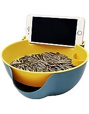 Multi-Function Stylish Snacks Storage Box Double Layer Container Household Plate Dish Organizer - Perfect for Snacks, Fruit, or Pistachio/Sunflower Seeds Storage Box - Bonus Phone Slot (#Blue)