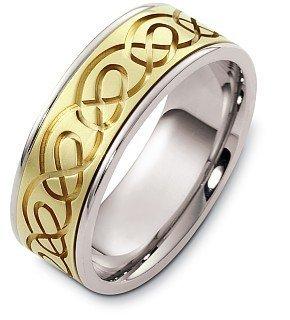 Titanium Dora Ring (8mm Titanium and 14 Karat Yellow Gold Celtic Knot Wedding Band - 9.75)