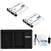 2-Pack LI-42B High-Capacity Replacement Battery with Rapid Dual Charger for Select Olympus Digital Cameras - UltraPro Bundle Includes: Camera Cleaning Kit, Camera Screen Protector, Mini Travel Tripod