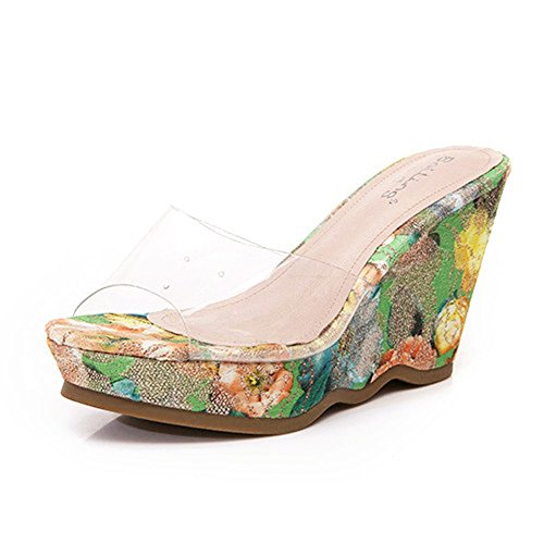 Sandals ZHIRONG Women's Summer Wedges Waterproof Platform Transparent Slippers Wedges Floral Print Pattern High Heel Bohemia Thick Bottom Beach Shoes (Color : 12CM, Size : EU36/UK3.5/CN35) 9.5cm
