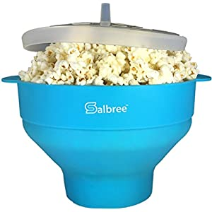 The Original Salbree Microwave Popcorn Popper, Silicone Popcorn Maker, Collapsible Bowl BPA Free (Turquoise)