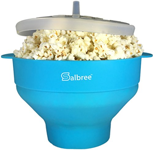 The Original Salbree Microwave Popcorn Popper  Silicone Popcorn Maker  Collapsible Bowl Bpa Free  Turquoise