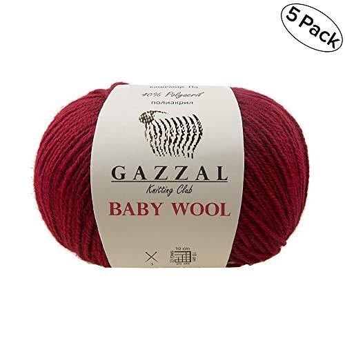 - 5 PACK - Gazzal Baby Wool 1.76 Oz (50g) / 218 Yards (200m) Yarn Weight 2 Fine Baby Yarn, 40% Lana Merino, 20% Cashmere Type Polyamide; (Red - 816)