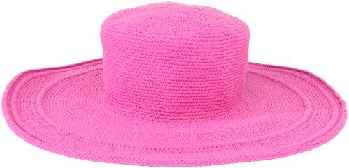 San Diego Hat Company Women's Cotton Crochet 4 Inch Brim Floppy Hat, Hot Pink, One Size
