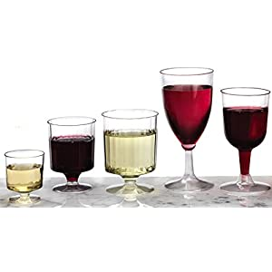 Party Essentials Hard Plastic Two Piece 5.5-Ounce Wine Glasses, Clear, (Pack of 150)