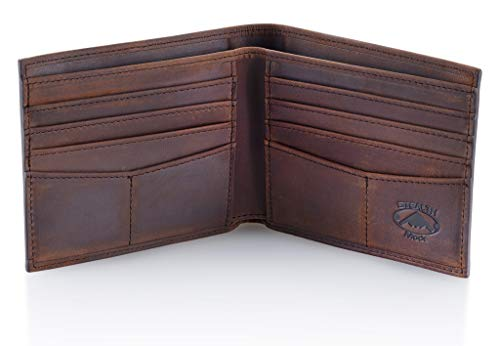 Stealth Mode Dark Brown Leather Bifold Wallet For Men - RFID Wallet With 8 Card Slots and Divided Billfold, One Size