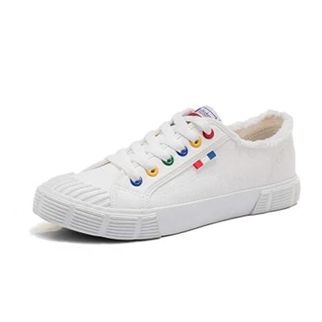 YSFU zapatillas Zapatos De Lona Blancos para Mujeres con Zapatillas De Deporte De Color Sólido.