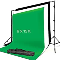 Julius Studio 10 x 8.5 FT. Background Muslin Backdrop Support System with 9 x 13 FT. Black, White, Green Backdrop Muslin, Photo / Video Studio Kit, JSAG311