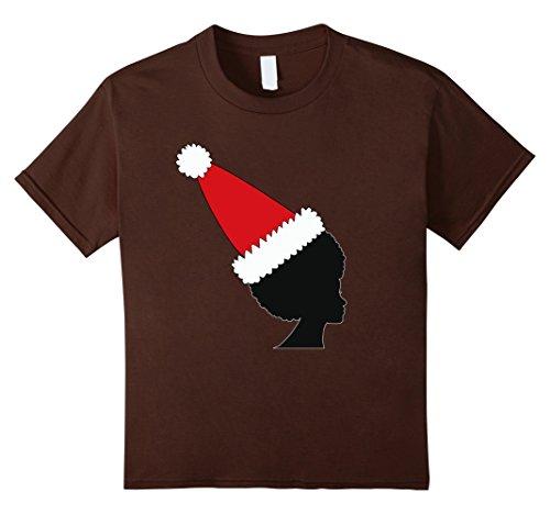 Afro Hat (Kids Natural Hair Afro Wearing Santa Hat T-Shirt 12 Brown)