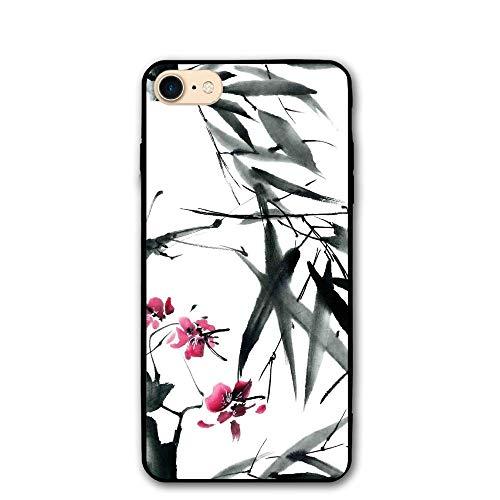 Haixia IPhone 7/8 Shell 4.7 Inch Traditional House Decor Natural Sacred Bamboo Stems Cherry Blossom Folk Art Print Full Dark Green Fuchsia