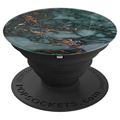Elegant Dark Jewel Tone Teal & Copper Marble Pattern - PopSockets Grip and Stand for Phones and Tablets ()