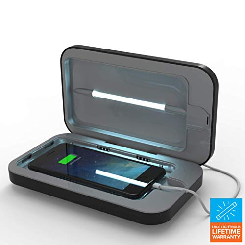 PhoneSoap 3 UV Cell Phone Sanitizer and Dual Universal Cell Phone Charger   Patented and Clinically Proven UV Light Sanitizer   Cleans and Charges All Phones - Black -