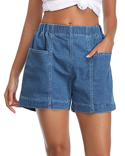 fuinloth Women's Denim Shorts, Elastic Wasit Mid Rise Loose Fit with 2 Front Pockets, Stretchy Jeans Short Pants