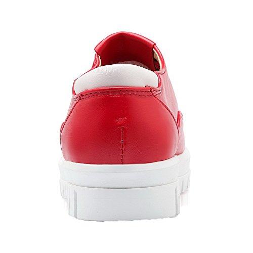 AllhqFashion Damen Rund Zehe Niedriger Absatz PU Leder Rein Schnüren Pumps Schuhe Rot