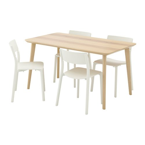 Ikea Table and 4 chairs, ash veneer, white 10204.2118.1830