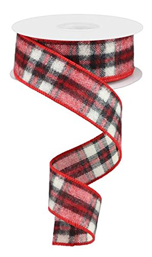 (Fuzzy Woven Plaid Wired Edge Ribbon, 1.5