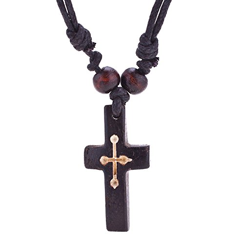 YHY Handmade Black Carved OX Bone Cross Pendant Necklace for Men Women Cotton Rope Adjustable