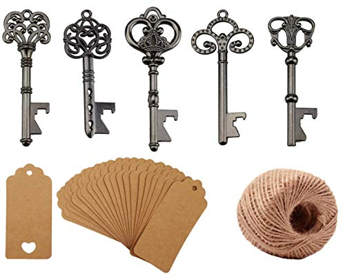 Yansanido Pack of 50 Skeleton Key Bottle Opener with Escort Tag Card and Twine for Wedding Favors for Guests Party Favors (mixed 5 styles Black) ()