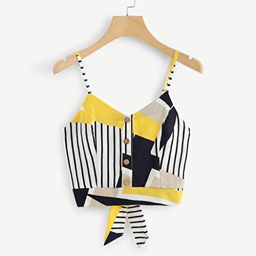 Coedfa Women's Bow Tie Back V Neck Button Splice Stripe Crop Cami Top Camisole Blouse Yellow by Coedfa (Image #2)