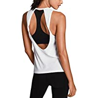 Mippo Women's Sexy Yoga Shirts Workout Clothes Twist Open Back Sports Gym Tank Tops