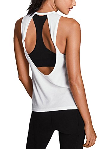 Mippo Womens Summer Workout Tops Sexy Backless Yoga Shirt Open Back Running Sports Tank Tops Cute Muscle Tank Sleeveless Gym Fitness Activewear Cloth for Juniors White M