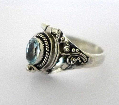 Poison Ring Bali Sterling Silver Locket Ring sky Blue Topaz December or March Birthstone AR04